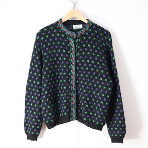 vintage benetton mohair cardigan sweater M/L retro